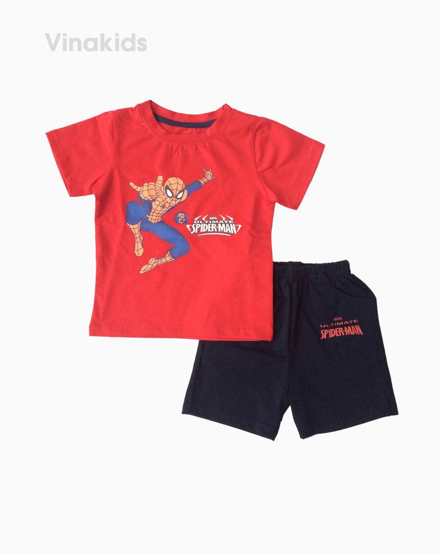Đồ bộ bé trai ngắn tay người nhện màu đỏ size 1-7 tuổi