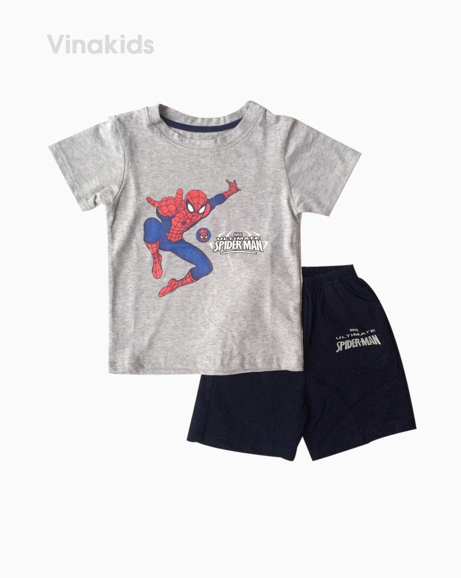 Đồ bộ bé trai ngắn tay người nhện màu ghi size 1-7 tuổi