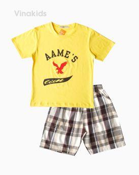 Đồ bộ bé trai ngắn tay thêu đại bàng màu vàng (8-12 tuổi)