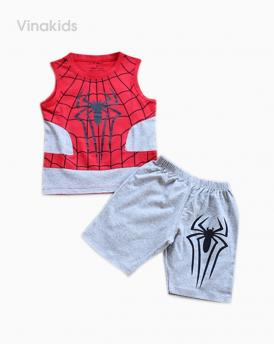 Đồ bộ bé trai nhện kèm mặt lạ màu ghi đỏ