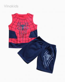 Đồ bộ bé trai nhện kèm mặt lạ màu tím than đỏ
