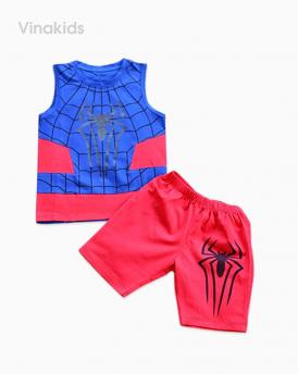 Đồ bộ bé trai nhện kèm mặt lạ màu xanh đỏ