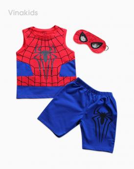Đồ bộ bé trai nhện kèm mặt lạ màu xanh dương đỏ