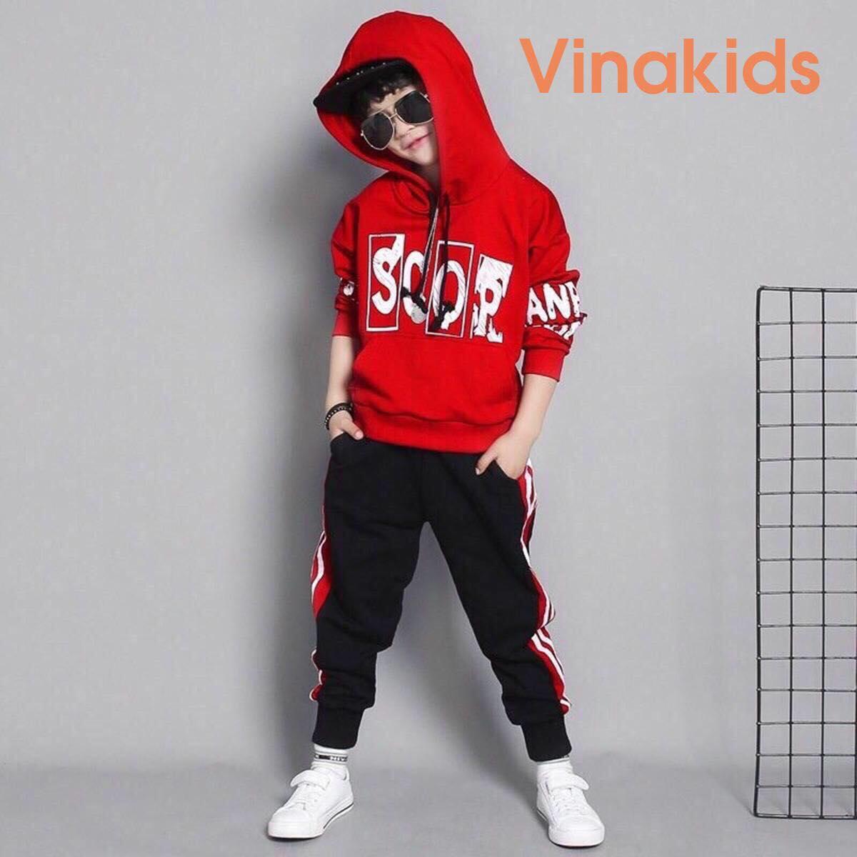 Đồ bộ bé trai nỉ da cá kiểu dáng hoodie Vinakids