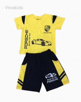 Đồ bộ bé trai ô tô màu vàng cotton