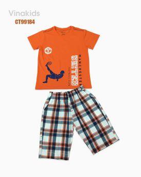 Đồ bộ bé trai quần kẻ Macheter màu cam