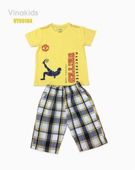 Đồ bộ bé trai quần kẻ Macheter màu vàng