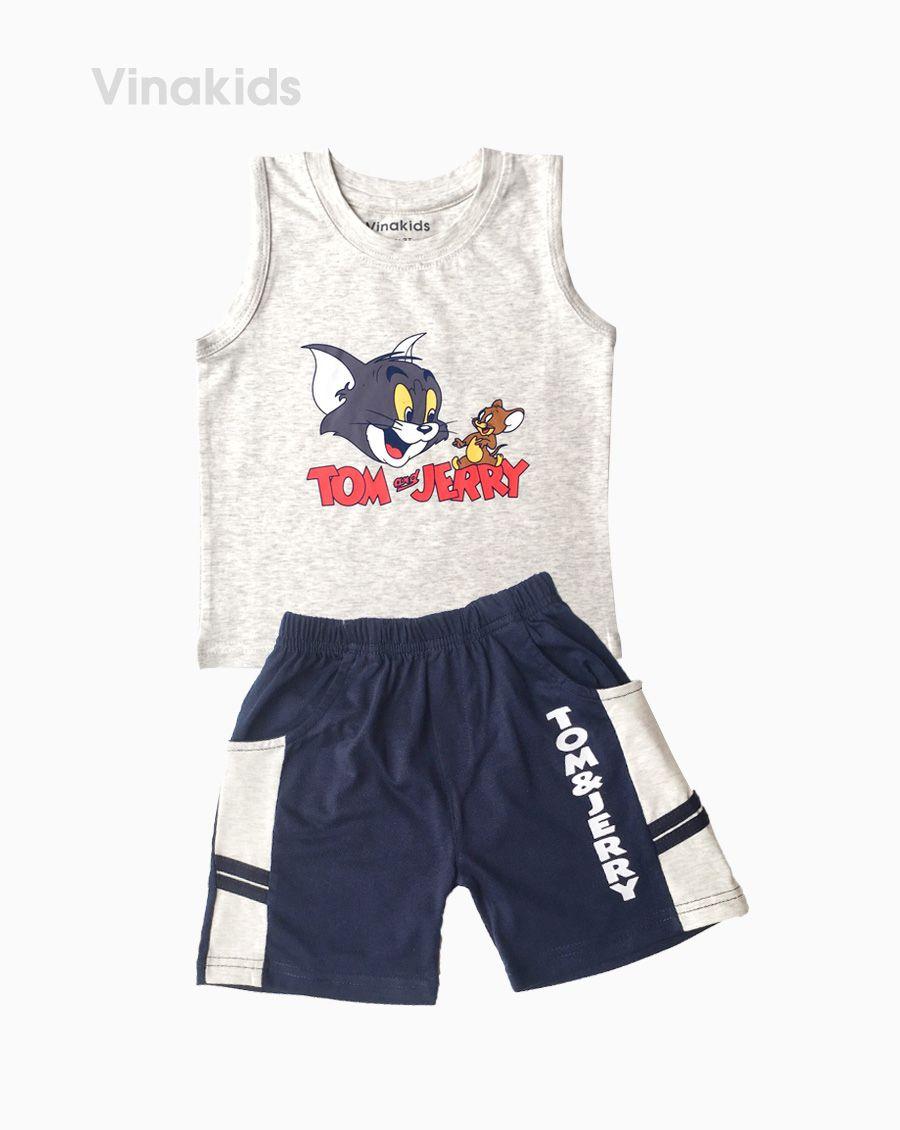 Đồ bộ bé trai sát nách Tom & Jerry màu ghi (1-7 tuổi)