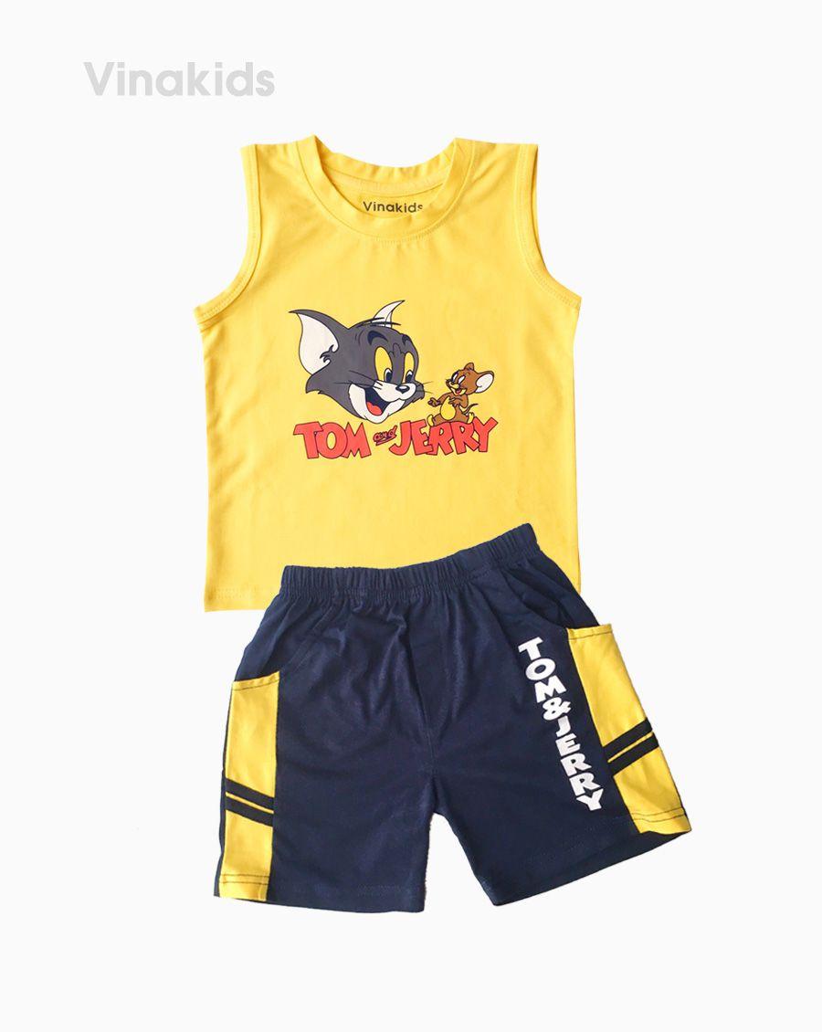 Đồ bộ bé trai sát nách Tom & Jerry màu vàng  (1-7 tuổi)