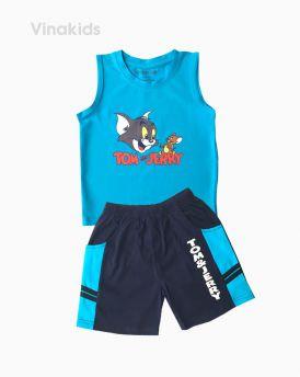Đồ bộ bé trai sát nách Tom & Jerry màu xanh (1-7 tuổi)
