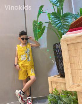 Đồ bộ bé trai sát nách số 18 màu vàng (1-7 tuổi)