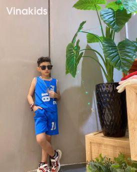 Đồ bộ bé trai sát nách số 18 màu xanh (1-7 tuổi)