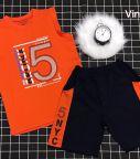 Đồ bộ bé trai sát nách thể thao số 5 màu cam (7-12 tuổi)