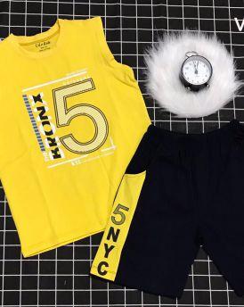 Đồ bộ bé trai sát nách thể thao số 5 màu vàng (7-12 tuổi)