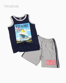 Đồ bộ bé trai sát nách thuyền TiTanic màu tím than (3-10 tuổi)