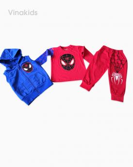 Đồ bộ bé trai set 3 siêu nhân nhện màu đỏ size nhí