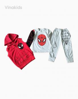 Đồ bộ bé trai sét 3 siêu nhân nhện màu ghi size đại
