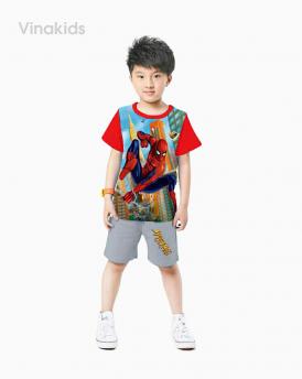 Đồ bộ bé trai siêu nhân 3D màu đỏ size đại