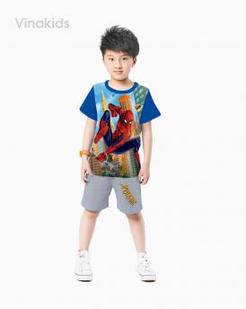 Đồ bộ bé trai siêu nhân 3D màu xanh dương size đại