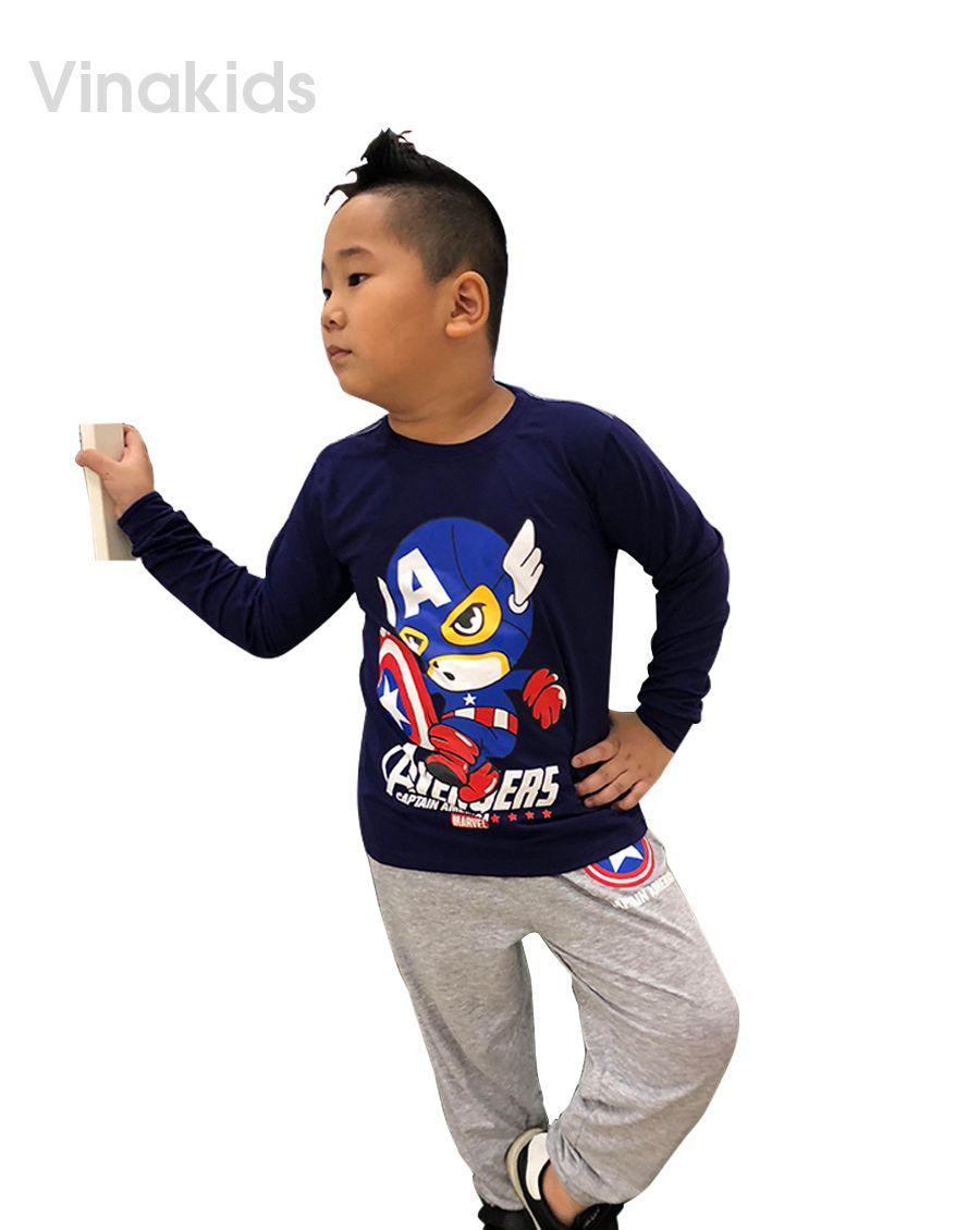 Đồ bộ bé trai siêu nhân Mavel tím than (1-7 tuổi)
