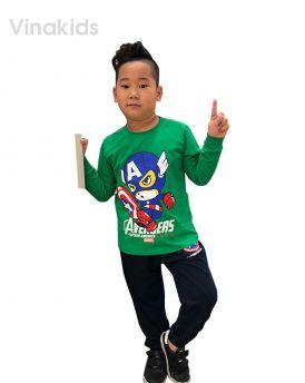 Đồ bộ bé trai siêu nhân Mavel xanh lá (1-7tuổi )