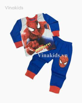Đồ bộ bé trai siêu nhân in 3D màu xanh