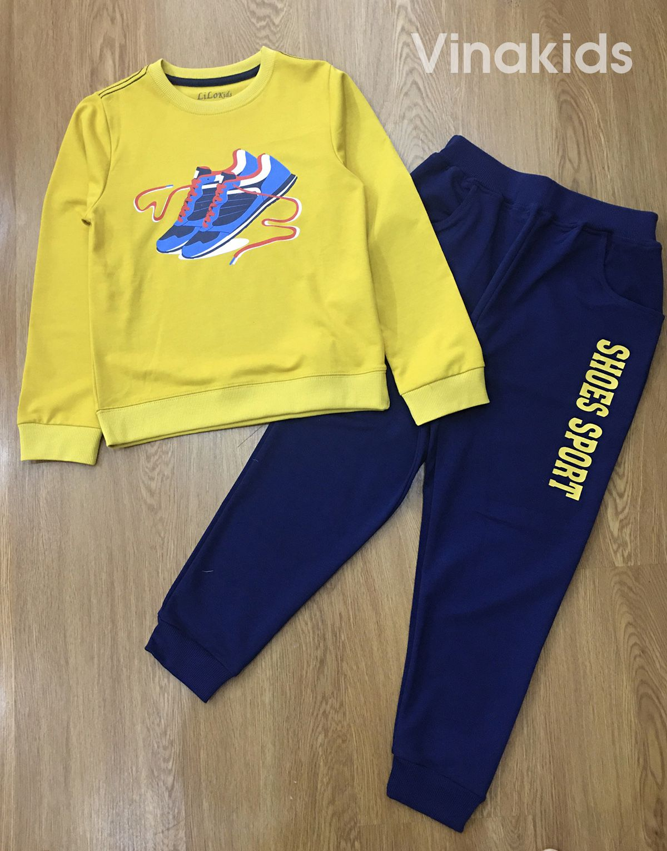 Đồ bộ bé trai thể thao hình đôi giầy màu vàng (7-11 tuổi)
