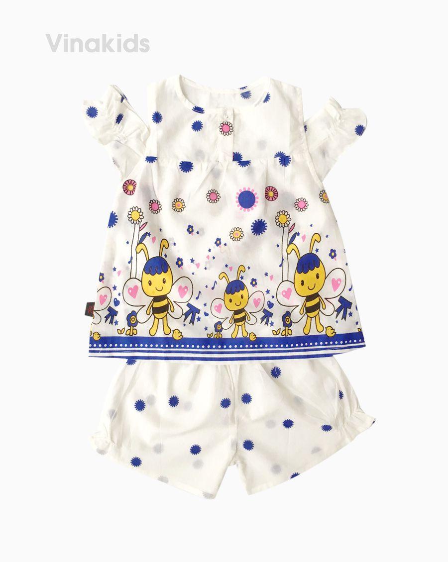 Đồ bộ boil bé gái hở vai hình con ong màu trắng size 1-6 tuổi