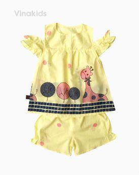 Đồ bộ boil bé gái hở vai hình hươu màu vàng size 1-6 tuổi