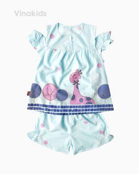 Đồ bộ boil bé gái hở vai hình hươu màu xanh size 1-6 tuổi
