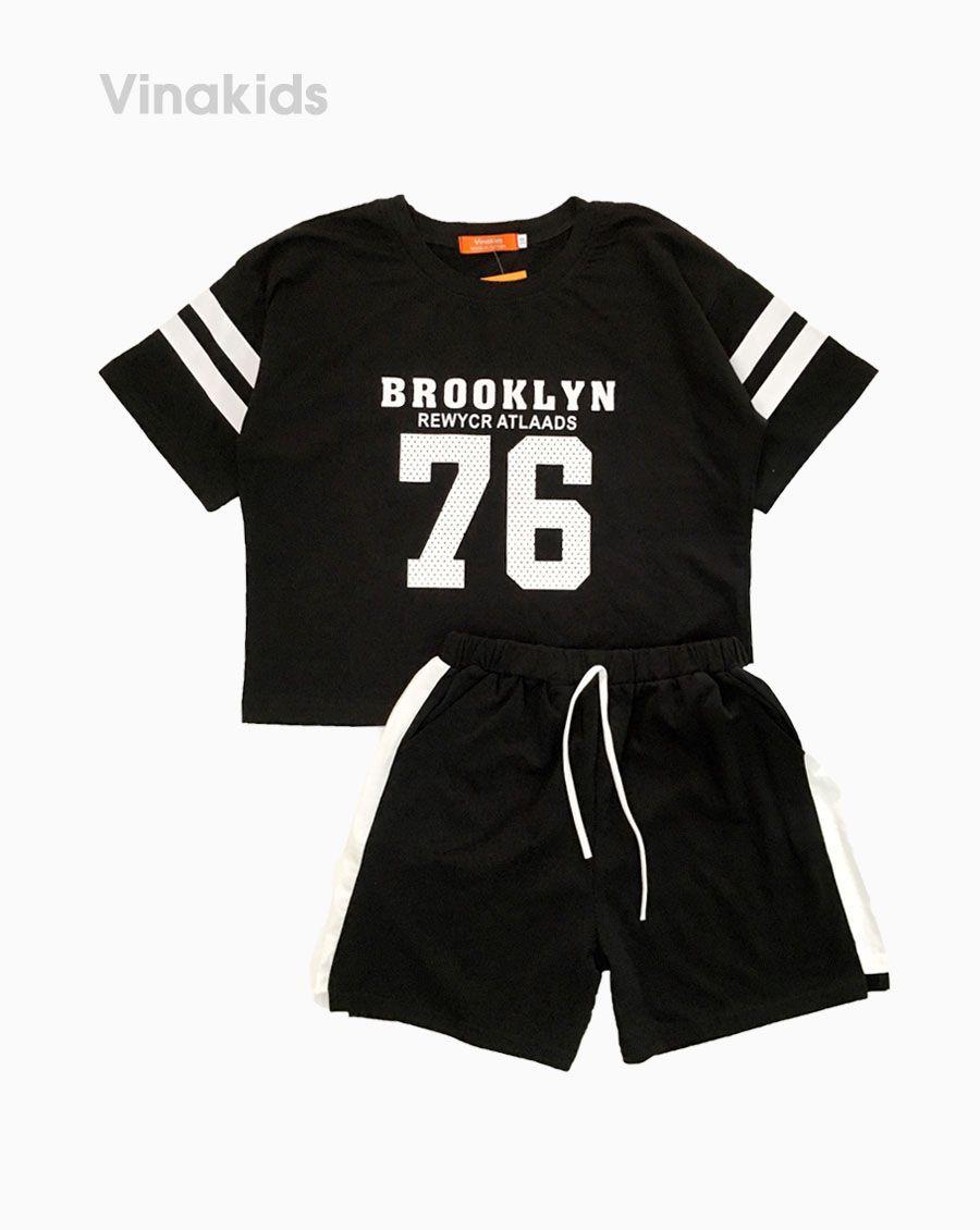 Đồ bộ croptop bé gái 76 màu đen (8-15 Tuổi)