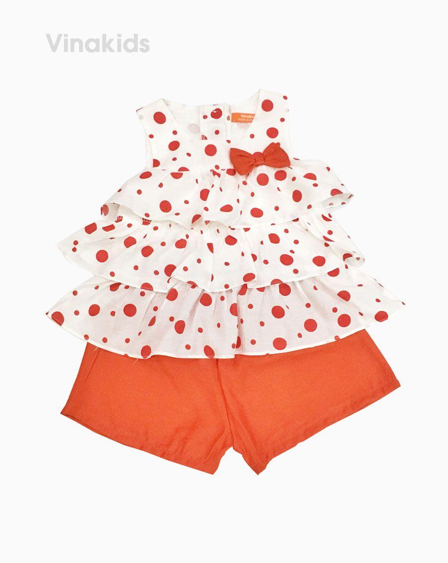 Đồ bộ đũi bé gái 3 tầng màu đỏ (2- 7 Tuổi)