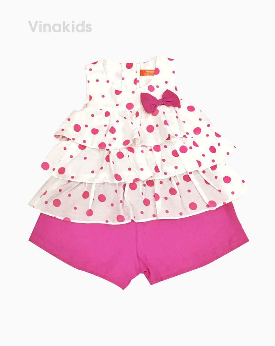 Đồ bộ đũi bé gái 3 tầng màu hồng (2- 7 Tuổi)