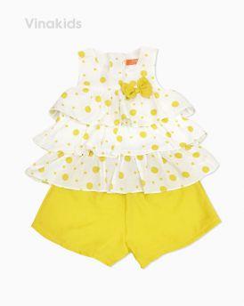 Đồ bộ đũi bé gái 3 tầng màu vàng (2- 7 Tuổi)