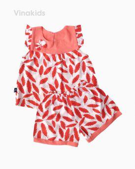 Đồ bộ lanh bé gái cánh tiên hình lông vũ màu đỏ (1-5 tuổi)