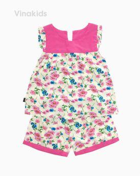 Đồ bộ lanh bé gái cổ màu hồng (1-6 Tuổi)