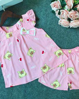 Đồ bộ lanh bé gái hình gấu đính nơ màu hồng đào (6-10 tuổi)
