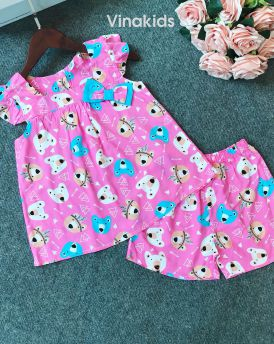 Đồ bộ lanh bé gái hình gấu màu hồng sen (6-10 tuổi)