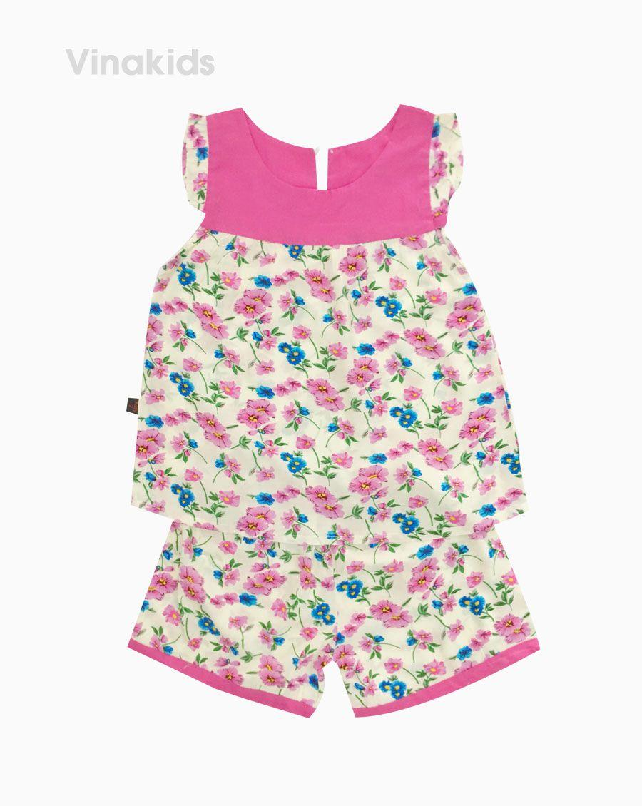 Đồ bộ lanh bé gái hoa cổ màu hồng sen (6-10 Tuổi)