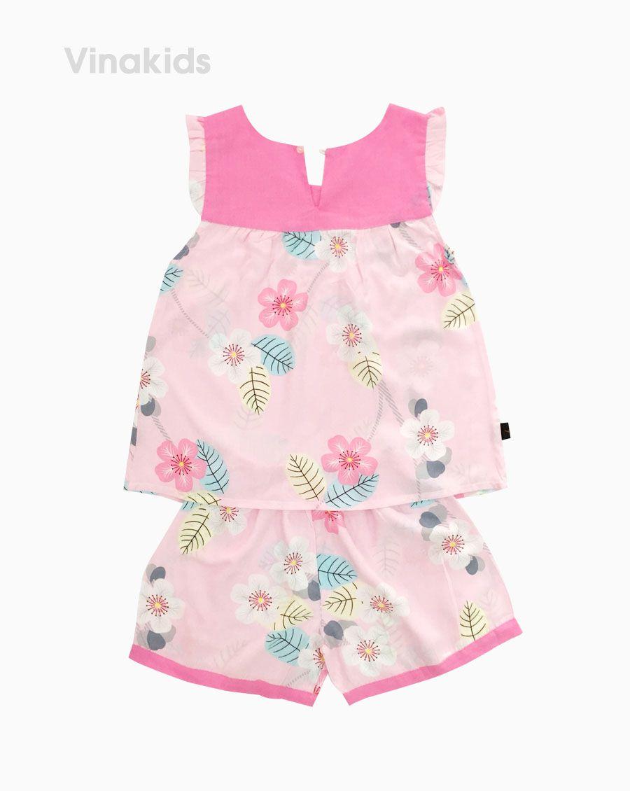 Đồ bộ lanh bé gái hoa đào cổ màu hồng phấn (6-10 Tuổi)