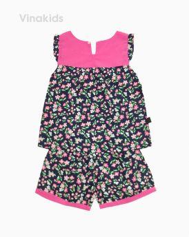 Đồ bộ lanh bé gái hoa màu hồng đen (6-12 Tuổi)