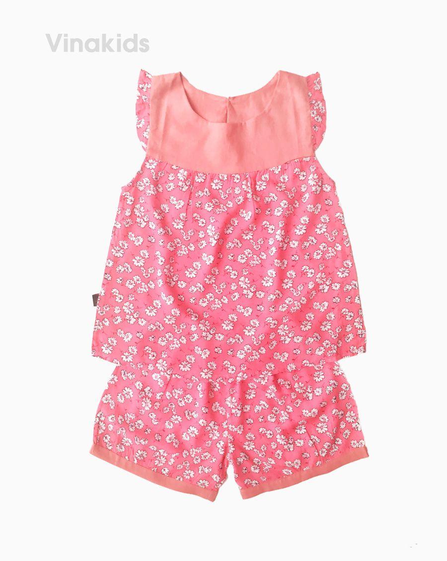 Đồ bộ lanh bé gái hoa màu hồng size 6-10 tuổi