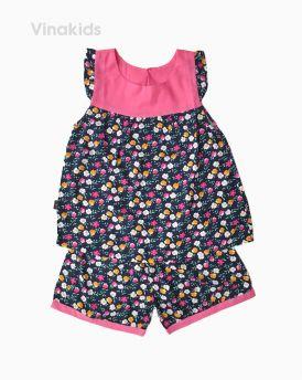 Đồ bộ lanh bé gái hoa nhiều màu phối cổ hồng phấn size 6-10 tuổi