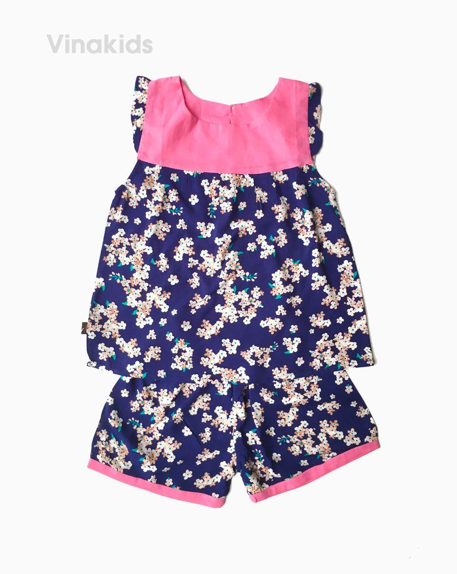Đồ bộ lanh bé gái hoa nhỏ cổ phối hồng phấn size 6-10 tuổi