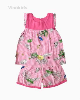 Đồ bộ lanh bé gái kẻ hoa lá màu hồng size 6-10 tuổi