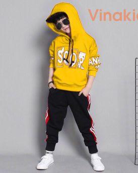 Đồ bộ thể thao Scor kiểu dáng Hip Hop màu vàng (3-10 tuổi)
