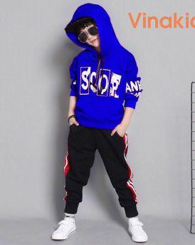 Đồ bộ thể thao Scor kiểu dáng Hip Hop màu xanh (3-10 tuổi)