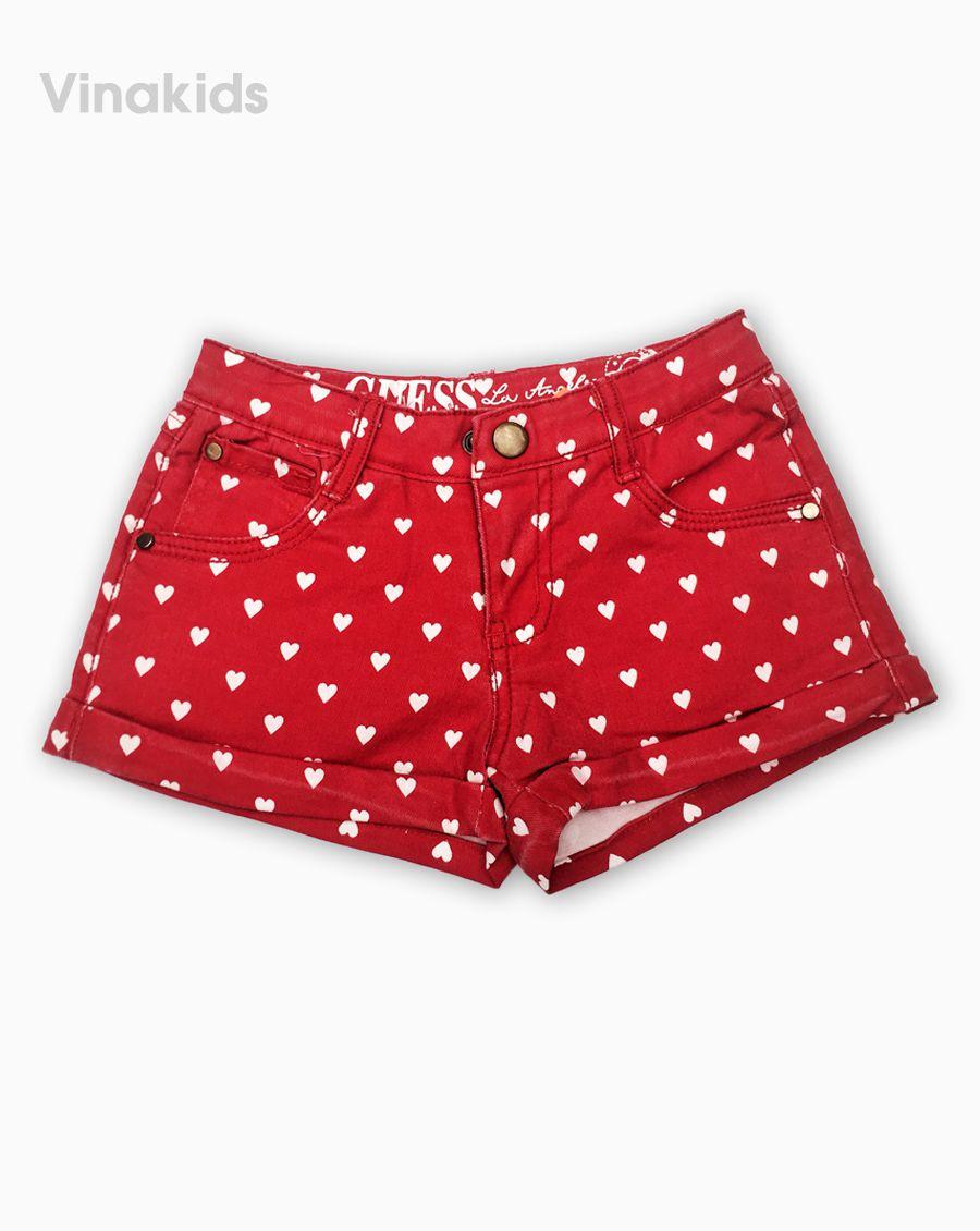 Quần bé gái chấm bi Kaki màu đỏ (2-10 tuổi)