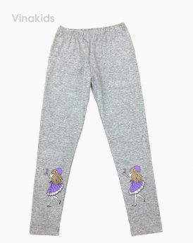 Quần legging hình cô gái bắt bướm màu ghi size 9-15
