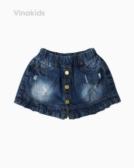 Quần jeans bé gái giả váy xếp ly màu xanh đậm (1-7 tuổi)